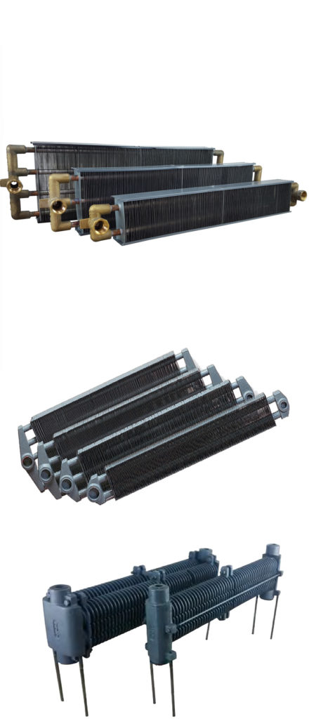 Copper, steel, and cast iron finned hydronic heating elements