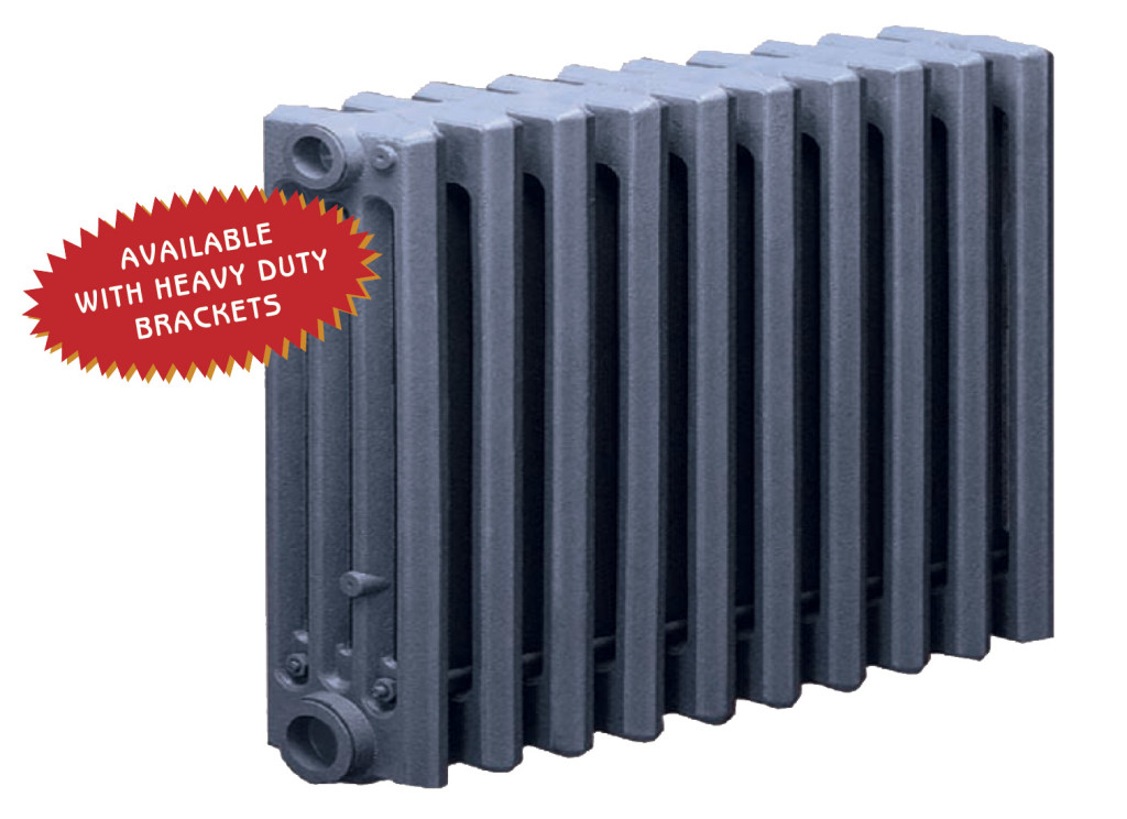 Wall hung slenderized cast iron radiator