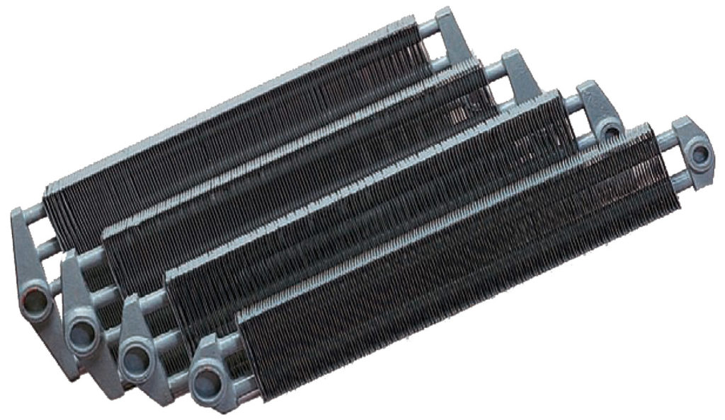 Steel finned hydronic heating element